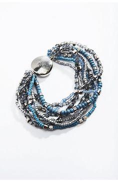 blue beads stretch bracelet