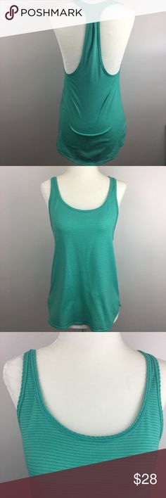 Lululemon Racerback Tank Teal/turquoise striped racerback tank by Lululemon. Scalloped edge. Slight hi-low style. Light wash wear as pictured, but overall in good condition. No size tag, but it is a 6, please see photos for measurements to see if it will work for you! Perfect layering piece. Make an offer or 'add to bundle' and I will send you a private discount! ❤️ lululemon athletica Tops