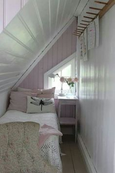 Tiny lavender bedroom makes great use of space under the eaves. Tiny lavender bedroom makes great use of space under the eaves. Very Small Bedroom, Small Attics, Attic Bedroom Small, Attic Bedroom Designs, Extra Bedroom, Small Rooms, Attic Bathroom, Tiny Bedrooms, Attic Playroom