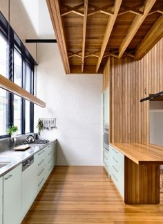 Timber is used to great effect inside
