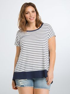 Plus Size Striped Woven Back Dolman Tee, PEACOAT