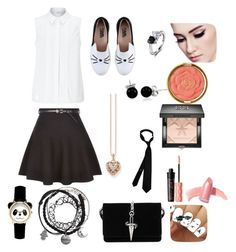 """School girl sweetie"" by kittystylez ❤ liked on Polyvore featuring John Lewis, New Look, Karl Lagerfeld, Cesare Paciotti, Bling Jewelry, Thomas Sabo, Givenchy, Milani, Benefit and Elizabeth Arden"