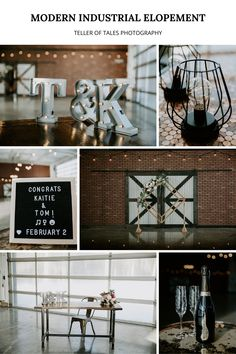 Modern industrial wedding venue and decor - completed with, string lights unique wedding arch. To see more of this modern industrial wedding visit Teller of Tales Photography. Industrial Wedding Venues, Modern Wedding Venue, Wedding Signage, Plan Your Wedding, Unique Weddings, Wedding Ceremony, Wedding Songs, Modern Industrial, Wedding Vendors