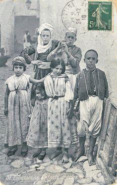 Algérie - Constantine - enfants arabes et juifs