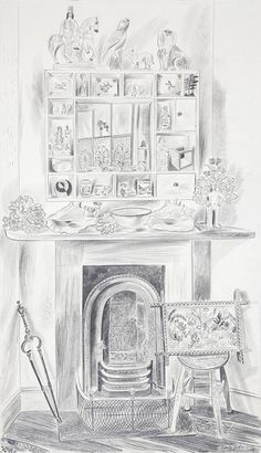 'The White Cabinet' by Emily Sutton, 2015 (pencil) Great Britain Countries, Drawing Sketches, Drawings, Sketching, Museum Of Childhood, Calander, White Cabinet, Bird Sculpture, Illustrations And Posters