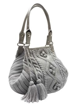 Cable knit sweater handbag with tassels