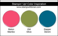 Stampin' Up! Color Inspiration: Melon Mambo, Old Olive, Dapper Denim