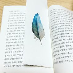 이렇게 책갈피 해도 예쁘겠당 🤗 . . . #bookmark #watercolor #aquarelle #blue #cute #handmade #daily #instagood