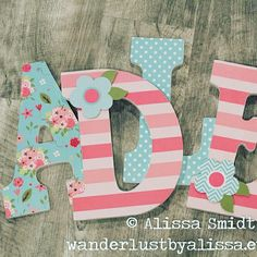 Items similar to 6 Nursery letters Wooden letters custom wood letters on Etsy Painting Wooden Letters, Painted Letters, Wood Letters, Elephant Nursery, Girl Nursery, Nursery Ideas, Room Ideas, Wood Name Sign, Hanging Letters
