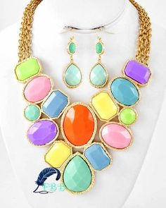 """Gold/multi colored *STATEMENT* collar necklace with matching earrings  • Gold tone  • Multi colored  • Necklace length: 17"""" + ext  • Earrings length: 2""""  • Lead and nickel compliant www.FreedomBirdBoutique.StoreNvy.com"""