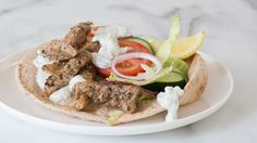 While gyros are typically made with ground meat, this is a speedier version using thin slivers of lean pork tenderloin. Perfectly balance your plate: Serve with 2 C ml) veggies and 3 Tbsp ml) prepared Dillicious Tzatziki Epicure Recipes, Greek Recipes, Whole Food Recipes, Cooking Recipes, Tzatziki, Ground Meat, Meals, Dinners, Clean Eating