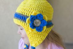 Crochet Beanie Hats/Girls Beanies/Handmade Gifts/Crochet minion beanie hat/Yellow Beanies/One Eyed/Two Eyed/Monster Beanies/Character Hats by Mandyscrochetshop on Etsy