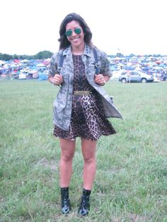 Pin for Later: The Ultimate Guide to Bonnaroo's Street Style Scene Bonnaroo Fashion 2014 For my look, I cinched a leopard skater dress with a studded belt, then finished with rain-ready combat boots. Photo: Mandi Villa