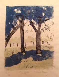 The Park, Linocut by Sandra Haney | Artfinder