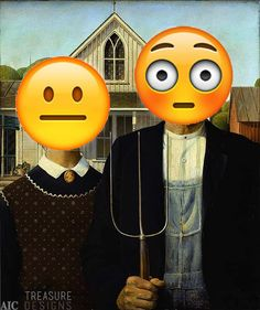 Recently, I came across a painting that so struck me with its message and beauty that I couldn't stop laughing… classic art featuring EMOJIS! American Gothic Painting, American Gothic House, Grant Wood American Gothic, American Gothic Parody, Art Grants, Famous Artwork, Arts Ed, Art Institute Of Chicago, Gothic Art