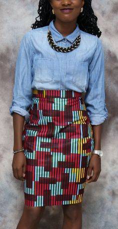 Love how the African fabric was paired with a chambray shirt. Makes for a very chic, transitional piece. African print classy pencil skirt, african skirt, african clothing, african dress, the african shop, african wedding dress, african outfit. Cotton African pencil skirt (affiliate)