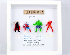 Avengers Superhero Figures Frame Gift. Ideal for Dad, Brother, Friend, Son, Nephew, Daddy. Birthday or Christmas gift. Personalised Message.
