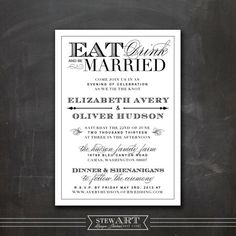 Personalized WEDDING INVITATION Printable Digital Design - Eat Drink & Be Married