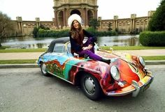 JANIS Joplin PORScHE 356 When Janis purchased this 1965 Porsche 356 Cabriolet second-hand in it was plain old white. She decided that the car needed jazzing up and persuaded her roadie, Dave Roberts, to give it a psychedelic finish. A year later it Janis Joplin, Porsche 356 Convertible, Grateful Dead, North Carolina, Concours D Elegance, Cabriolet, E Type, Steve Mcqueen, Plein Air