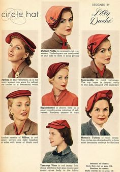 Lilly Dache circle hats, 1953. #vintage #1950s #hats