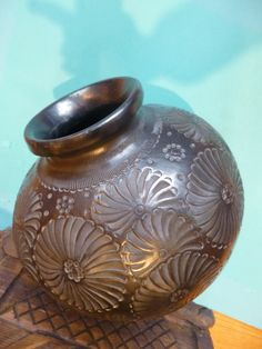 Mexican Black Pottery Vintage Large Clay Urn From by myeduardo -etsy $185