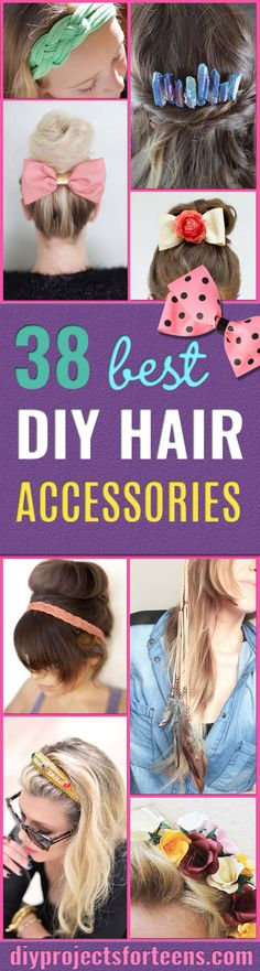 38 Creative DIY Hair Accessories - Create Pretty Hairstyles for Women, Teens and Girls with These Easy Tutorials - Vintage and Boho Looks for Prom and Wedding - Step by Step Instructions for Cool Headbands, Barettes, Pony Tail Holders, Hair Clips, Bobby Pins and Bows http://diyprojectsforteens.com/diy-hair-accessories