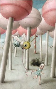 Nicoletta Ceccoli~ Once upon a time, a little girl took her pet bee for a flight among the lollypop trees...
