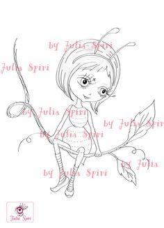 Digital Stamps Digi stamp Coloring pages Fairy by JuliaSpiri