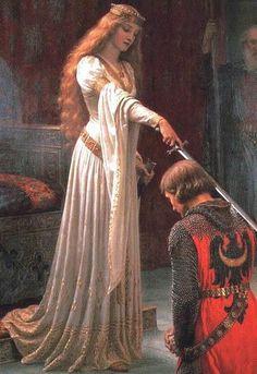 Aquí se puede observar una princesa con un vestido típico de su época junto a un hombre con una armadura típica de la misma.