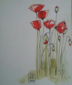pen and ink watercolor poppies Watercolor Poppies, Watercolor And Ink, Watercolor Illustration, Watercolour Painting, Painting & Drawing, Poppies Painting, Watercolors, Watercolor Techniques, Pottery Painting