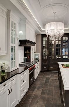 Mix of dark trim white kitchen