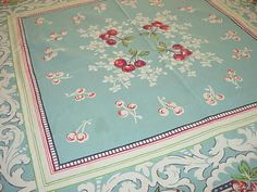 Aqua and Red Cherries vintage table cloth