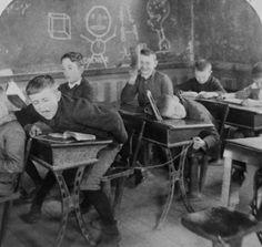 A bad boy in school, ca. 1890