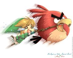 Link riding angry bird as his loftwing... Cute :3