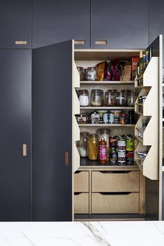 ESSENTIAL KITCHESN & PLUCK LONDON - Features Creative Director Amy Powney's new kitchen.  #motherofpearl #pearlyqueen #interiors #amypowney #kitchenstorage Kitchen Larder, New Kitchen, Kitchen Storage, Locker Storage, Kitchen Decor, Kitchen Cabinets, Kitchen Ideas, Pantry Design, Kitchen Design