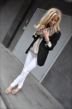 White skinnies, black blazer and scarf..