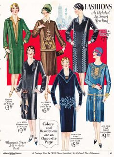 Women's Fashion from a 1927 catalog #vintage #1920s #fashion