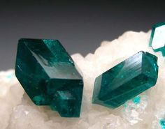 Dioptase on Calcite from Tsumeb, Namibia