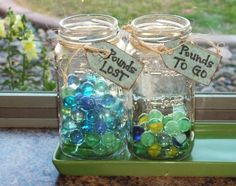 """Pounds to Lose"" jars. This is a great visualization tool! Each marble represents 1 pound. Put as many marbles in as you want to lose. As you lose (or gain back) move the marbles to the appropriate jar."