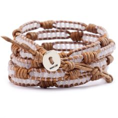 Chan Luu - Rose Quartz Wrap Bracelet on Knotted Natural Brown Leather, $180.00