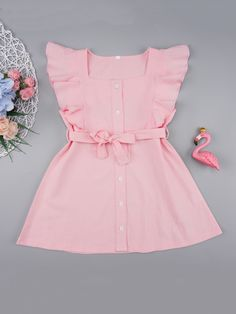 Product name: Toddler Girls Button Front Ruffle Trim Belted Dress at SHEIN, Category: Toddler Girl Dresses Frocks For Girls, Little Girl Outfits, Little Girl Fashion, Toddler Girl Dresses, Girls Dresses, Toddler Girls, Fashion Kids, Toddler Fashion, Toddler Outfits