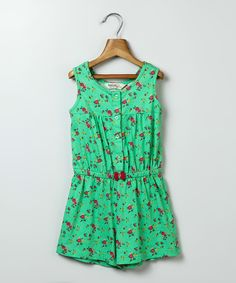 Loving this Green Floral Romper - Infant, Toddler & Girls on #zulily! #zulilyfinds
