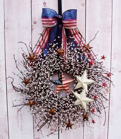 wreaths for front door | Spring/Summer Wreath-Front Door Wreath-AMERICANA RED STARS Patriotic ...