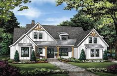 Plan of the Week Under 2500 sq ft - The Sloan house plan 1528! 2258 sq ft | 3 Beds | 2.5 Baths The Sloan is overflowing with curb-appeal, from the decorative wooden brackets adorning the gables to the metal accent roof. The floor plan is equally impressive with a gourmet island kitchen. #wedesigndreams #modernfarmhouse Best House Plans, Dream House Plans, House Floor Plans, Modern Farmhouse Plans, Rustic Farmhouse, Farmhouse Design, Craftsman House Plans, Craftsman Style, The Ranch