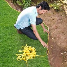 Use a rope to help measure and map out how many brick pavers you will need to edge your garden bed