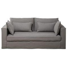 Sofa 3 Sitzig Aus Leinen Hellgrau