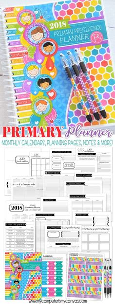 2018 Primary PRESIDENCY Planner, I am a Child of God Primary Theme Printables - planning pages, calendars and more! #mycomputerismycanvas