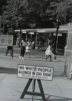 Occasionally, a few days were designated to allow black people to attend the zoo with the restriction placed on whites. The things our history books don't tell us...   Memphis - 1950s.