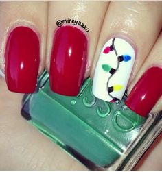 Christmas light nails #stylescavenger