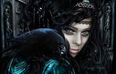 Wallpaper fantasy, witch, queen, crown, make-up, eye, eyes, crow's beak